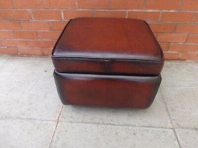 A Conker Brown Leather Chesterfield Box Stool