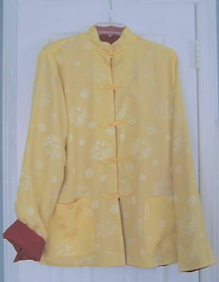 Asian Reversible Jacket Wine Red & Pale Gold Damask Symbols Frog Closures Sz M-L