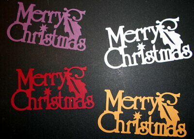 4 *MERRY CHRISTMAS*  Die-cuts- 4 colours - Scrapbooking/Cardmaking