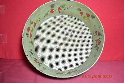 Early Folk Art Country Large  Painted Strawberries Round Metal Sifter