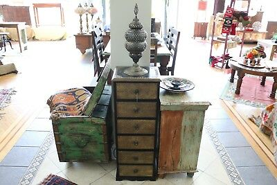 Rustic Indian Bedside Cabinet Sideboard w/ Brass Patina
