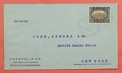 1915 Dominican Republic Overprint #197 Solo Use Cover To Usa