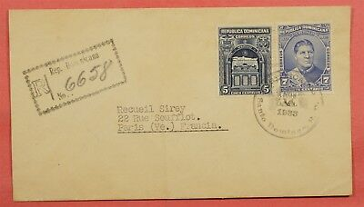 1933 Dominican Republic Registered Santo Domingo To France