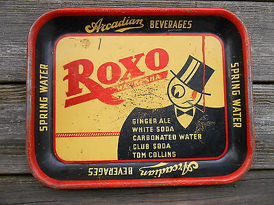 Old Arcadian Beverages Roxo Spring Water Ale Soda Tom AD Tray Waukesha Wisconsin
