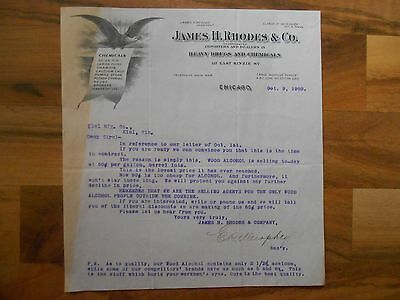 Antique 1903 James H Rhodes & Co Heavy Drugs & Chemicals Chicago Illinois Letter
