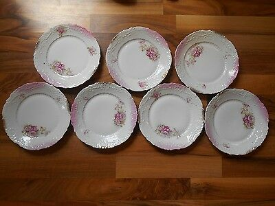 "Old Vintage or Antique Set Lot 7 China Plates Flowers Floral around 7 3/4"" Pink"