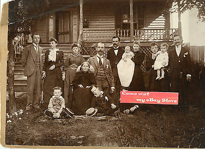 """Antique Matted Photo - 9"""" x 12"""" - Large Family Front of House - Men, Ladies"""