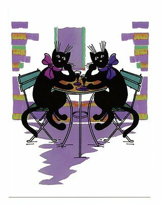 fun modern cat postcard lady black cats drink wine wait for dates