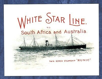 modern postcard White Star Line Sth Africa Australia Steamship Runic CAT CHARITY