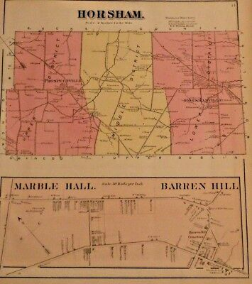 Rare Horsham, Barren-Hill Montgomery County 1871 Hopkins Antique Hand-Color Map