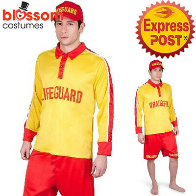 CA566 Mens Beach Rescue Lifeguard Life Saver Surf Summer Patrol Sports Costume