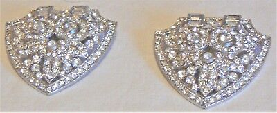 Pair of vintage dress clips circa 1940s, all round and baguette crystals, intact