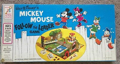 Vintage Walt Disney's Mickey Mouse Follow The Leader Board Game 1971 COMPLETE