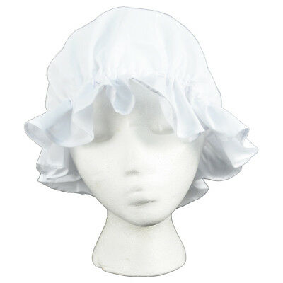 Colonial Amish Mob Cotton Hat Womens White Bonnet Poor Girl/Maid/Pilgrim Costume
