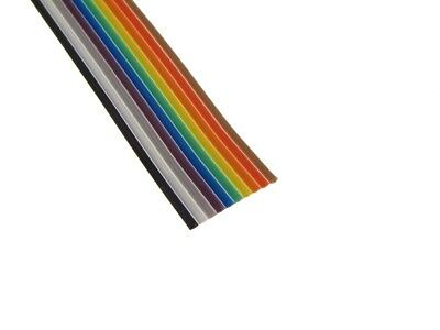 10Ft Multi-Color Flat Ribbon Zippable Cables 10 Conductors 28AWG 1.27mm