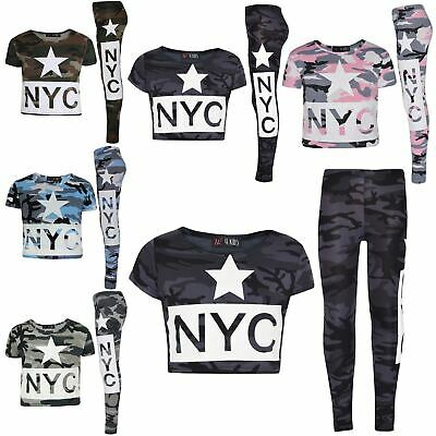Girls Tops Kids NYC Camouflage Print Crop Top & Fashion Legging Set 7-13 Years