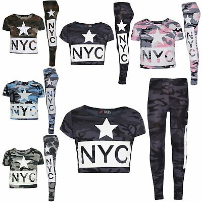 Kids Girls NYC Camouflage Trendy Crop Top & Fashion Legging Outfit Set 7-13 Year