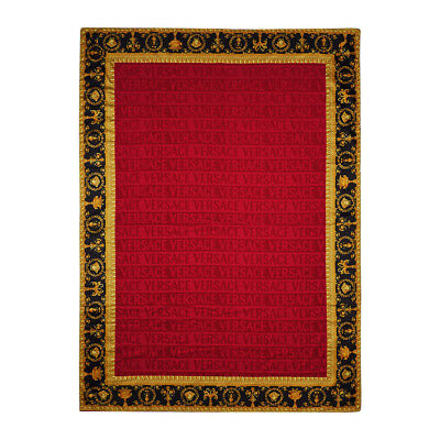 "Versace Baroque Jacquard Medusa Bath/Beach Towel Red - 76.77"" x 57.09"""