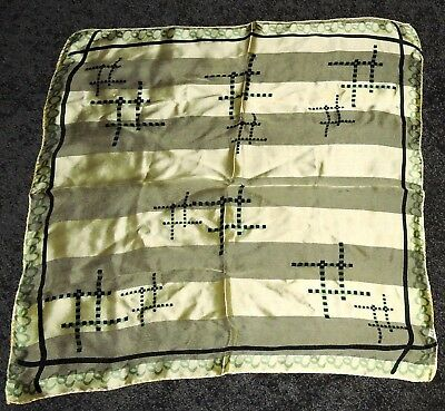 "Vintage Fine Silk Pale Yellow Green Black Art Deco New 20"" Sq Scarf Hand Whipped"