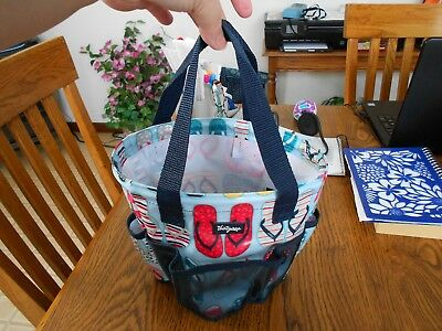 Thirty-One Round About Caddy with a mesh bottom Flip Flop Print Navy Mesh New!