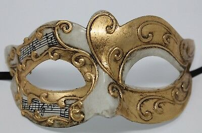 Ivory & Gold Musical Notes/Script Venetian Masquerade Party Ball Prom Eye Mask