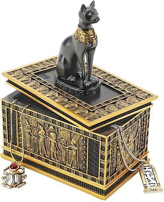 Egyptian Goddess Royal Cat Bastet Sarcophagus Ebony & Gold Trinket Box NEW