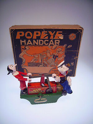 "Gscom  ""popeye Handcar"" Marx, 1935, W/u Ok, Sehr Gut/very Good In Bad Box ! !"
