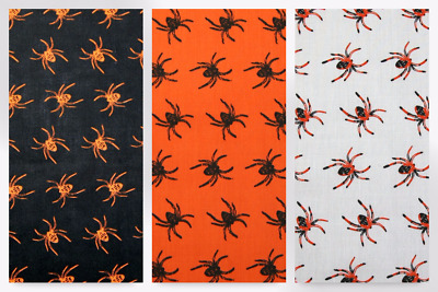 Spiders Print Polycotton Dress Fabric (EM-PC036-Black-M)