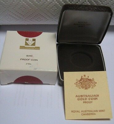 Empty Box for 1986 200 Dollar Gold Proof Coin With Certificate and Outer Box
