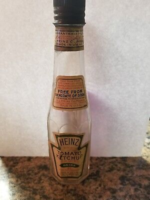 Heinz Tomato Catsup 100 Yr Old Bottle With Labels & Emb Metal Cap Real Nice!