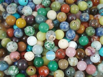 Gemstone Beads 25pc Mix 10mm Round Semi Precious Gem Stone Natural FREE POSTAGE