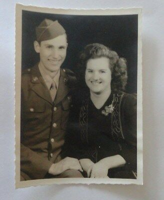 1940's Black & White Vintage Photograph WW II Soldier and Spouse Posing 5 x 7