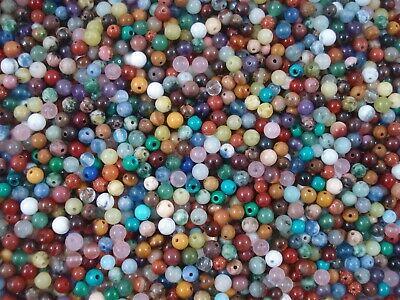 Gemstone Beads 55pc Mix 4mm Round Semi Precious Gem Stone Natural FREE POSTAGE