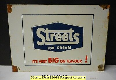 Streets  Ice Cream Big On Flavour Lovely Old Style  Retro Tin Sign Freepost Aust