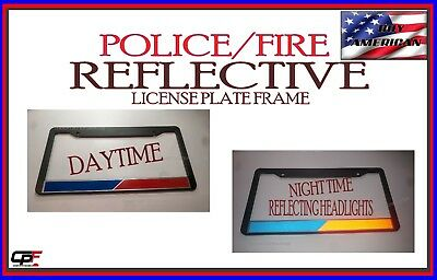 d06b13a518b8e REFLECTIVE POLICE FIRE thin blue red line firefighter police License Plate  Frame