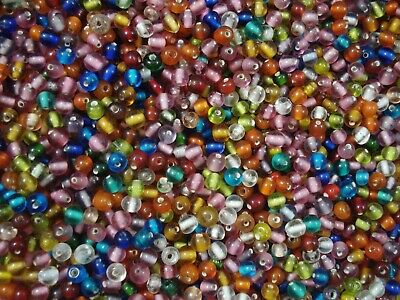 Glass Beads 250pc Round Mix 4/5mm Beaded Beading Jewellery Jewelry FREE POSTAGE