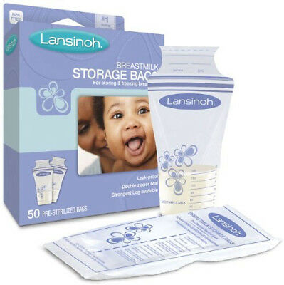 50 Pre-Sterilized Lansinoh Breastmilk Freezer Storage Bags
