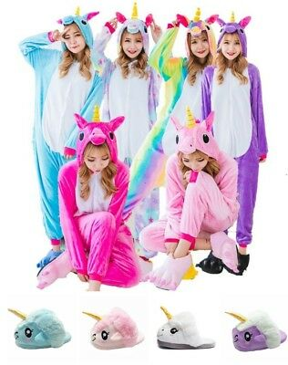 Cute Cartoon Unicorn Onesie2 Sleepwear Animal Costume Cosplay Pyjamas Slippers