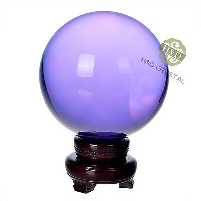 "150mm 5.9"" Purple Quartz Magic Crystal Healing Ball Sphere with Wooden Stand"