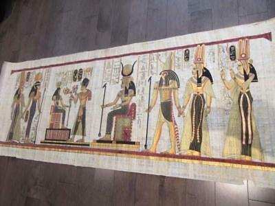 "XXXL Huge Signed Handmade Papyrus Egyptian Queens & Hathor...Painting 71""x26"""