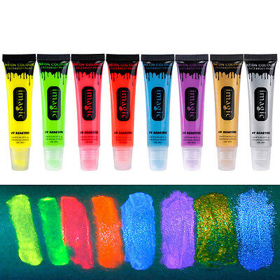 Cool Bright Face & Body Paint Fluorescent Rave DIY Painting Make Up Party