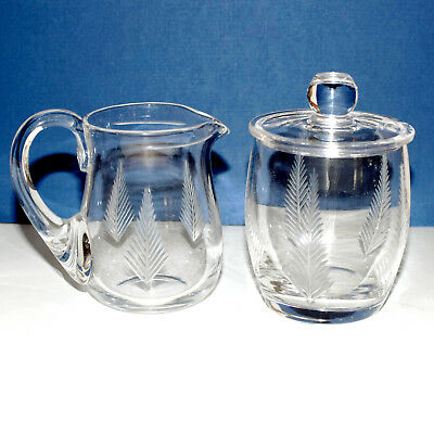 * Stuart Crystal WOODCHESTER Sugar Bowl and Creamer Set