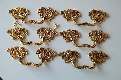 6 superb large solid brass Rococo drawer handle Louis XV furniture pull 2005