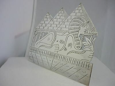 Stunning Rare Hallmarked Solid Silver Egyptian Sphinx & Pyramid Plaque