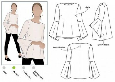 MLTW020S-M Style Arc Ladies Sewing Pattern Crystal Overshirt