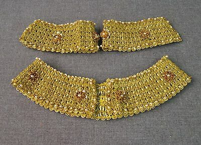 Vintage 60's Embroidery Faux Pearls & Sequins Flowers Golden Collar & Cuffs
