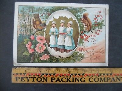 Victorian Trade Card Easter Greetings Woolson Spice Lion Coffee