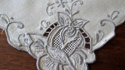 "set of 4 antique linen dinner napkins w great cutwork+embroidery+drawnwk 17"" sq"