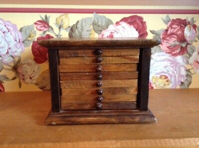 Vintage wooden drawer box with 8 coasters