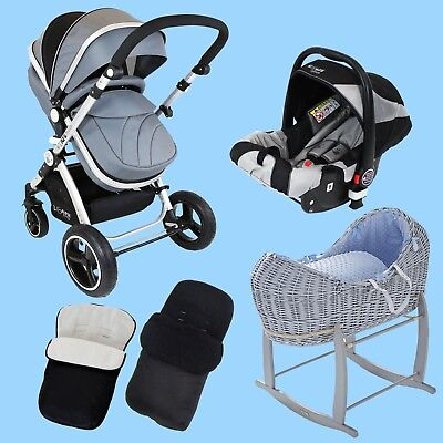 New Born Baby Bundle - 3 in 1 Pram System Grey +Noah Pod + Footmuffs